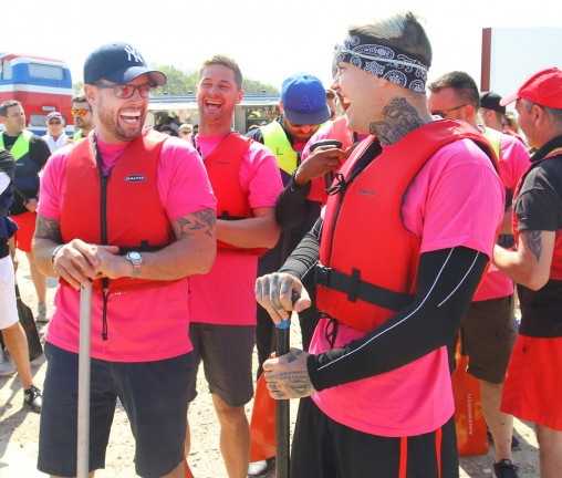 """23-04-2015 Newport, Isle of Wight - Keith Duffy (L) laughs with Shane Lynch (R) at the first ever Isle of Wight Festival Dragon Boat Race  Celebrities turned out in support of national children's charity WellChild to take part in the first ever Isle of Wight Festival Dragon Boat Race which saw businesses, charities and celebrities go head-to-head on the River Medina throughout the day.   """